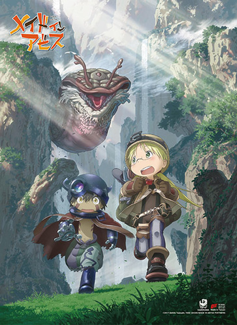 Made In Abyss Riko, and Reg Running From Giant Monster Wall Scroll
