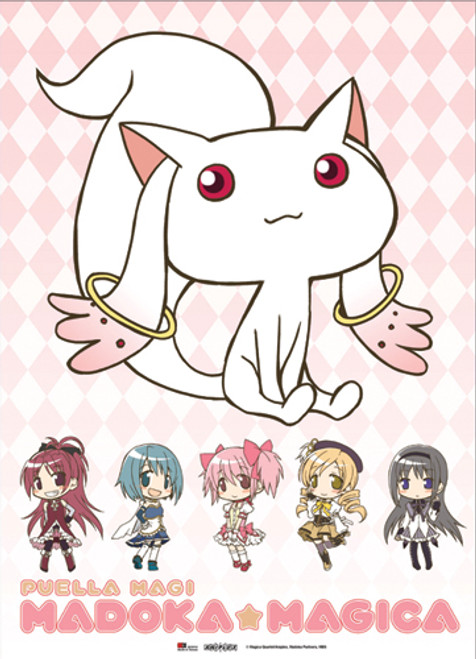 Madoka Magica Kyubey With The Magical Girls Wall Scroll