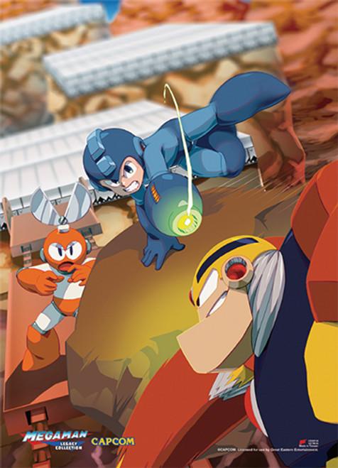 Mega Man Attacking Villians Wall Scroll