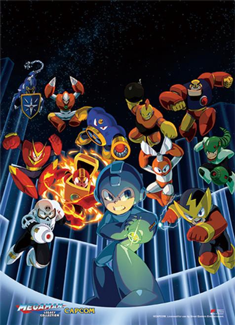 Mega Man Vs A Group Villains Wall Scroll