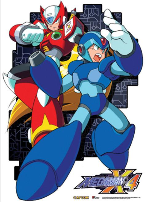 Mega Man X and Zero Preparing For Battle Wall Scroll