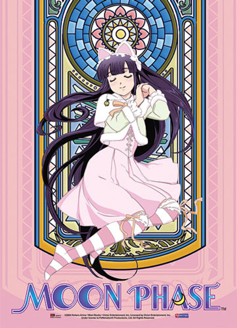 Moon Phase Hazuki In Front Of Stained Glass Wall Scroll