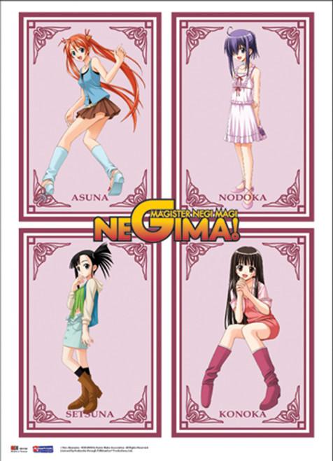 Negima! Asuna, Miyazaki, Setsuna, and Konoka Wall Scroll