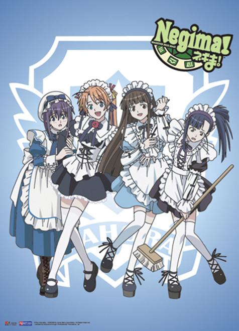 Negima! Asuna, Miyazaki, Setsuna, and Konoka In Maid Outfits Wall Scroll