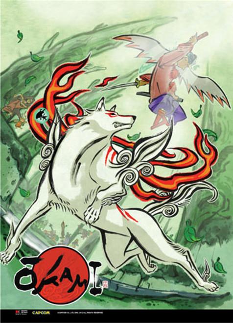 Okami Waka Attacking Amaterasu Wall Scroll