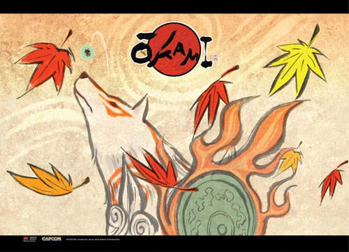 Okami Amaterasu Looking Up Wall Scroll