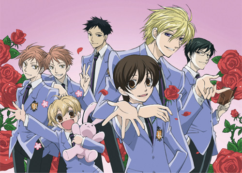 Ouran High School Host Club Club Members With Roses In The Background Wall Scroll