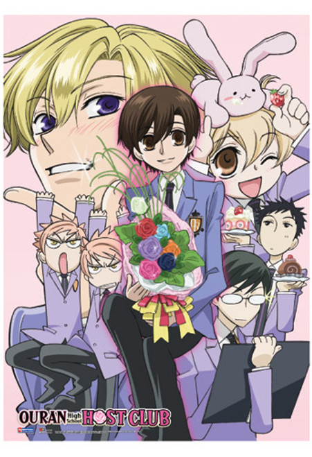 Ouran High School Host Club Haruhi Surrounded by Guys Wall Scroll