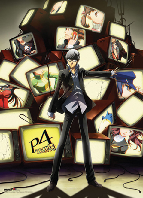 Persona 4 Yu With Lots Of Tv's In The Background Wall Scroll