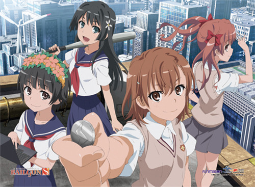A Certain Scientific Railgun S - Mikasa And Her Friends On The Rooftop Wall Scroll