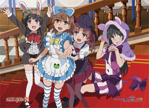 A Certain Scientific Railgun S - Mikasa And Her Friends In Different Maid Costumes Wall Scroll