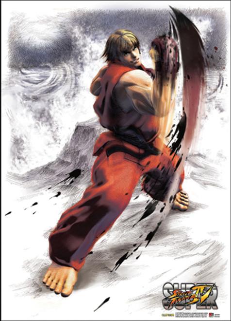 Super Street Fighter IV Ken Doing An Upper Cut Wall Scroll