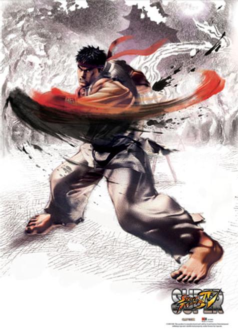 Super Street Fighter IV Ryu Doing A Left Hook Wall Scroll