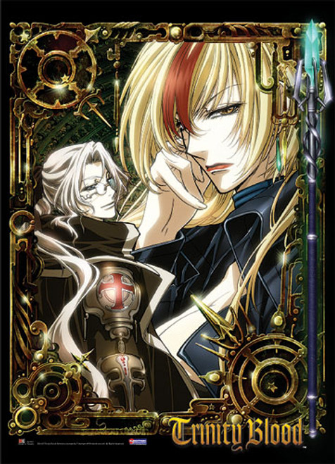 Trinity Blood Abel, and Astharoshe With Spear on The Side Wall Scroll