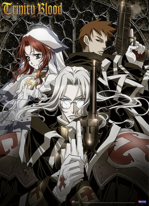 Trinity Blood Esther, and Abel with His Gun Wall Scroll