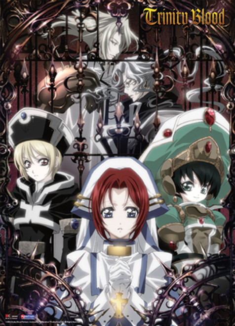 Trinity Blood Esther, Abel, Cain, Seth, and Ion Wall Scroll