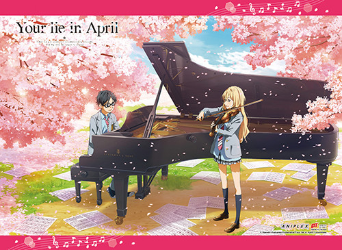 Your Lie In April Kaori, and Arima Playing Outside Wall Scroll