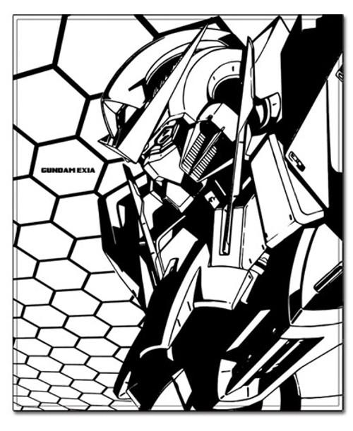 Gundam 00 Exia Black and White Throw Blanket