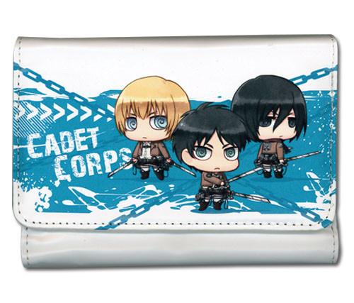 Attack on Titan - Chibi Eren, Armin, and Mikasa Snap Wallet