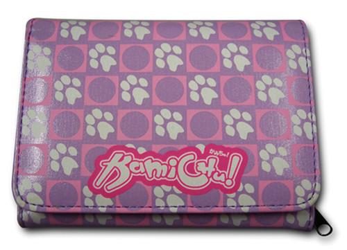 Kamichu! Purple Dog Paw Prints Zipper Wallet