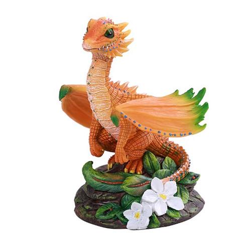 Joyful Looking Orange Dragon Looking Out