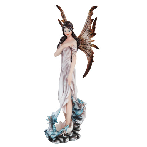 Fairy With Baby Blue Dragons