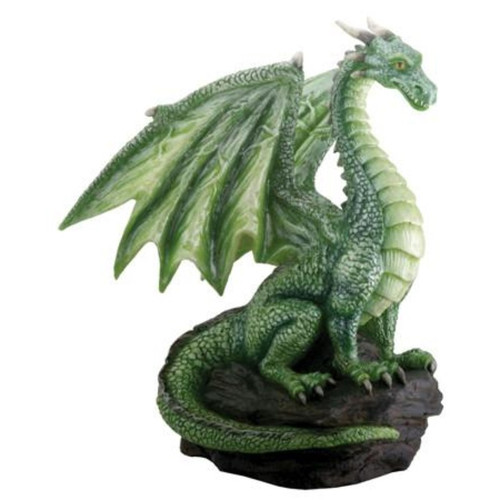 Green Dragon Sitting On Rocks