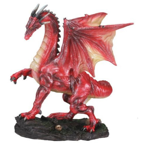 Red Dragon On Cliff With Bones