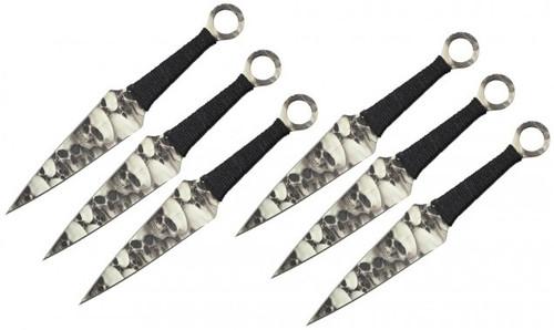 "9"" 6Pc Skulll Print Throwing Knife Set"