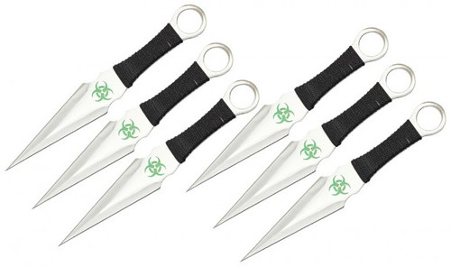 "9"" 6Pc Toxic Throwing Knife Set"