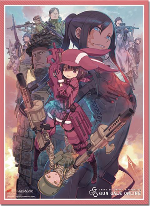 Sword Art Online Alternative GGO - LLENN, Pitohui, Okitsu, And Fukaziroh With Other Soldiers Key Art Wall Scroll