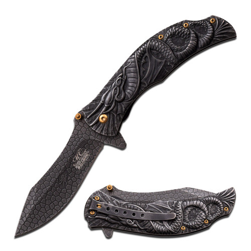 "8.5"" Steel Blade, Stonewashed Water Dragon Handle, Spring Assisted Folding Knife"
