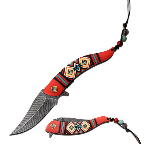 "8.5"" Steel Blade, Native Design Red Fiber Handle, Spring Assisted Folding Knife"