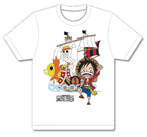 One Piece - Chibi Luffy Next To Sunny T-Shirt