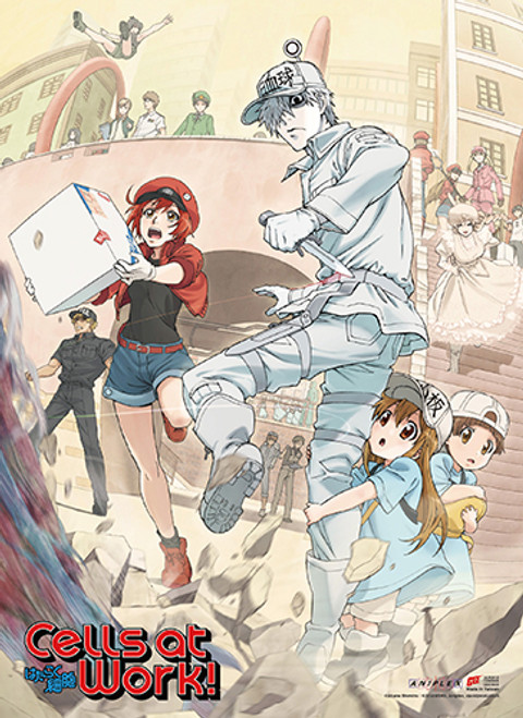 Cells At Work! - U-1146, AE3803, Platelet, Macrophage, And Killer T Cell Key Art SS Wall Scroll