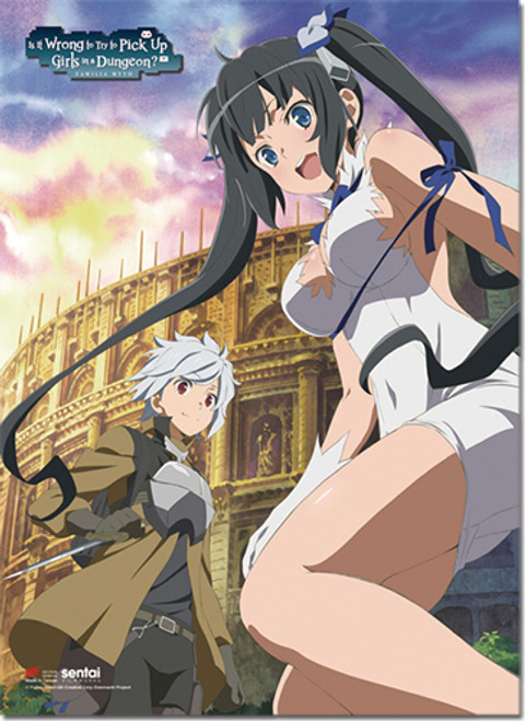 Danmachi - Bell And Hestia In Front Of The Colosseum Wall Scroll