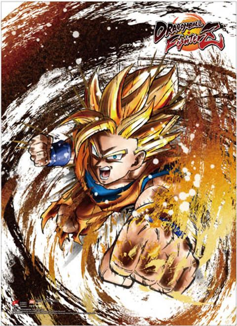 Dragon Ball FighterZ - Drawn Super Saiyan Goku Key Art Wall Scroll