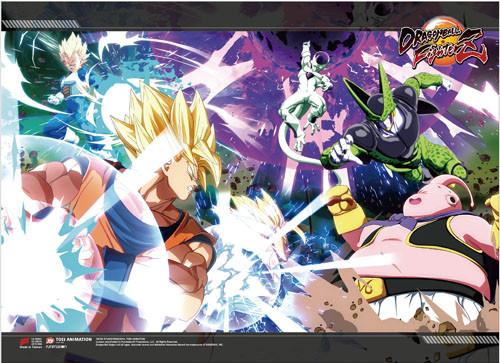 Dragon Ball FighterZ - Super Saiyan Goku, Vegeta, And Manjin Vs Cell And Frieza Key Art High End Wall Scroll