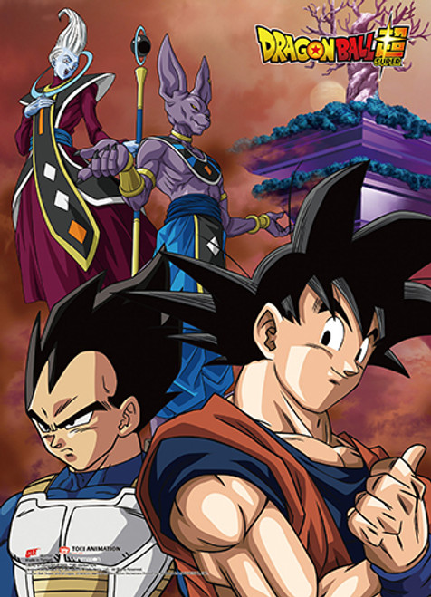 Dragon Ball Super Battle Of The Gods - Goku And Vegeta With Beerus And Whis Behind Them Wall Scroll