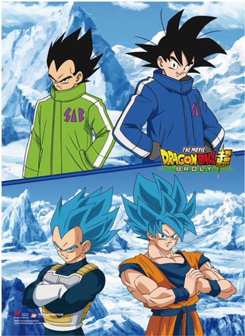 Dragon Ball Super Broly - Goku And Vegeta Above Their Super Saiyan Blue Counterpart Wall Scroll