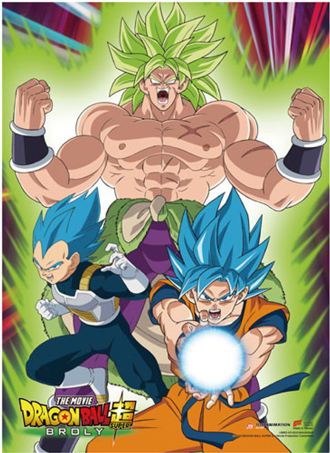 Dragon Ball Super Broly - Super Saiyan Blue Goku And Vegeta With Super Broly Behind Them Wall Scroll
