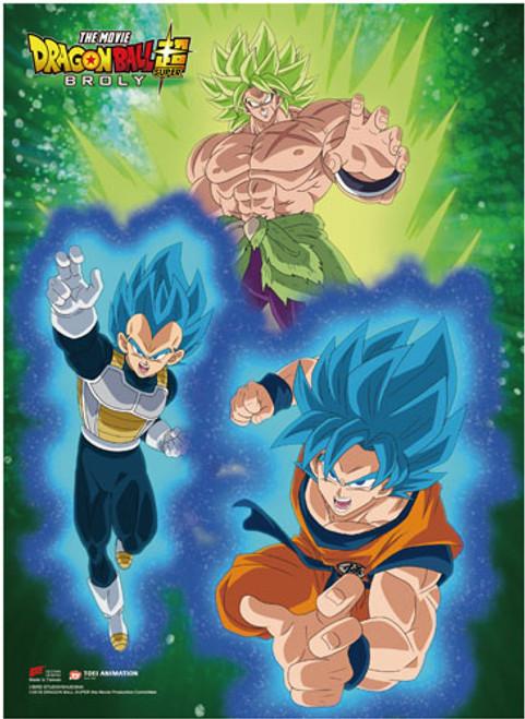 Dragon Ball Super Broly - Super Saiyan Blue Goku And Vegeta Flying Away From Super Broly Wall Scroll