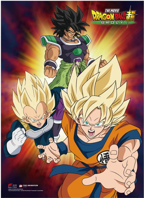 Dragon Ball Super Broly - Super Saiyan Goku And Vegeta With Broly Behind Them Wall Scroll