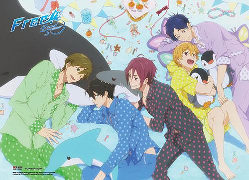 Free! 2 - Main Characters Sleepover Fabric Wall Scroll