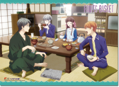 Fruits Basket 2019 - Tohru Honda Having Dinner With Yuki, Kyo, And Shigure Sohma Key Art Wall Scroll