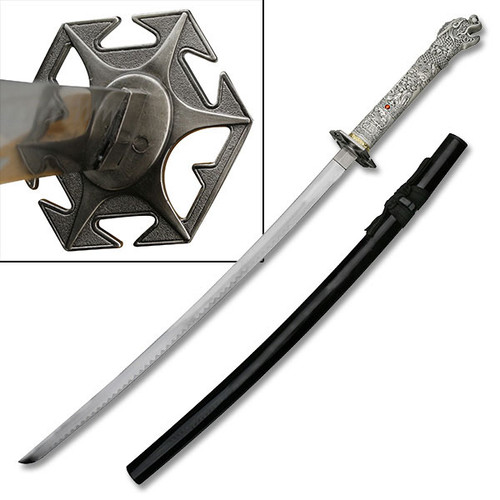 "41.25"" Steel Blade, Dragon Scales Design And Dragon Head Handle, Samurai Sword"