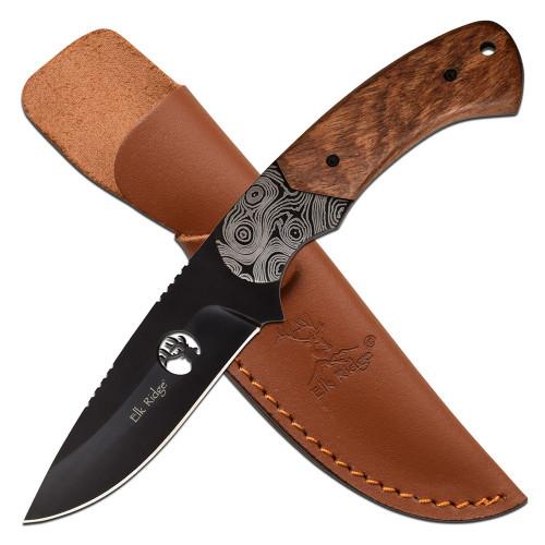 "8"" Steel, Etched Steel Bolster, Brown Pakkawood Handle, Fixed Blade Knife"
