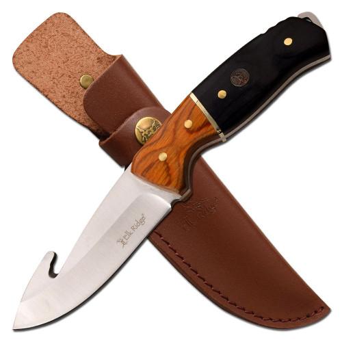 "8.75"" Steel, Gut Hook Blade, Wood And Black Handle, Fixed Blade Knife"