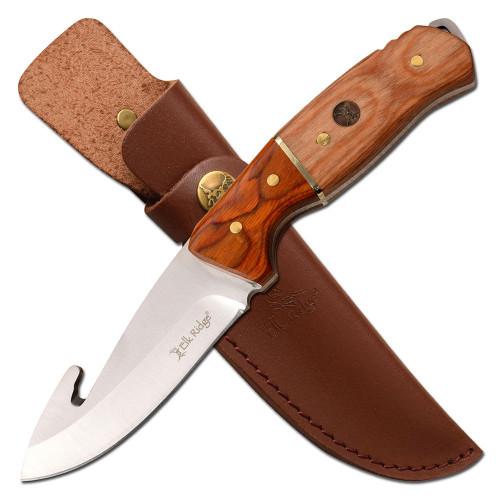 "8.75"" Steel, Gut Hook Blade, Two Wood Handle, Fixed Blade Knife"