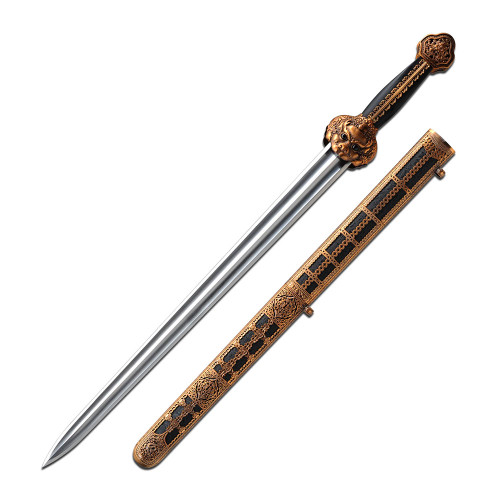"34"" High Carbon Steel, Bronze Caged Handle, Ming Imperial Dynasty Sword"
